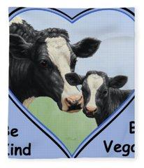 Holstein Cow And Calf Blue Heart Vegan Fleece Blanket