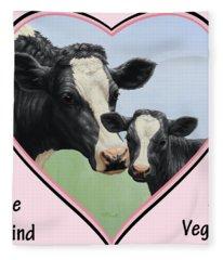 Holstein Cow And Calf Pink Heart Vegan Fleece Blanket