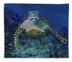 Fleece Blanket featuring the painting Home Of The Honu by Darice Machel McGuire