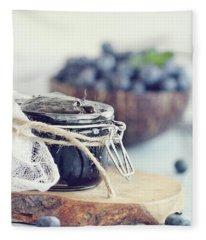 Homemade Blueberry Preserves And Fruit Fleece Blanket