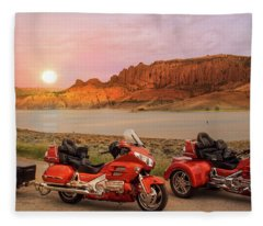 Honda Goldwing Bike Trike And Trailer Fleece Blanket