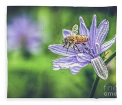 Honey Bee And Flower Fleece Blanket