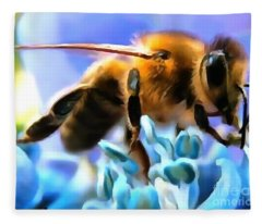 Honey Bee In Interior Design Thick Paint Fleece Blanket