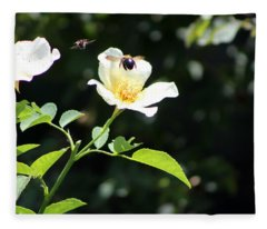 Honey Bees In Flight Over White Rose Fleece Blanket