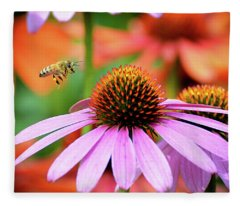 Honeybee Flying To A Coneflower Fleece Blanket