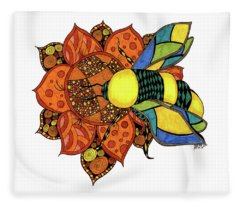 Honeybee On A Flower Fleece Blanket