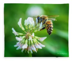 Honeybee On White Clover..... Fleece Blanket