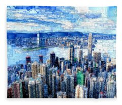 Fleece Blanket featuring the digital art Hong Kong, China by Rafael Salazar