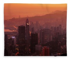 Fleece Blanket featuring the photograph Hong Kong City View From Victoria Peak by Pradeep Raja Prints