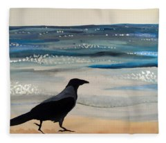 Hooded Crow At The Black Sea By Dora Hathazi Mendes Fleece Blanket