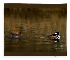 Hooded Mergansers Fleece Blanket