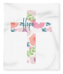 Hope Floral Cross- Art By Linda Woods Fleece Blanket