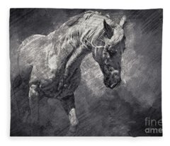 Horse Art Drawing Fleece Blanket