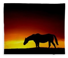 Horse At Sunset Fleece Blanket