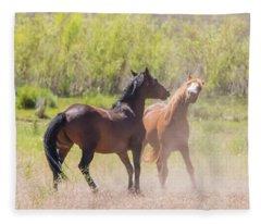 Horse Fight Fleece Blanket