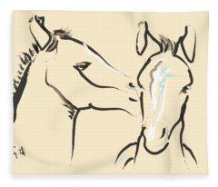 Horse-foals-together 6 Fleece Blanket