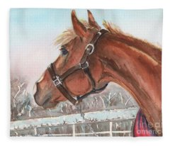 Horse Head Painting In Watercolor Fleece Blanket