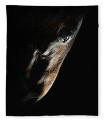 Horse Head Strobist Art Portrait Fleece Blanket
