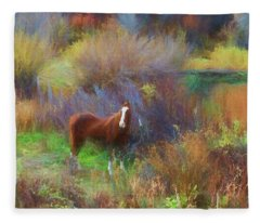 Horse Of Many Colors Fleece Blanket
