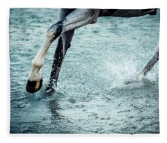 Horse Legs Running On The Water Fleece Blanket
