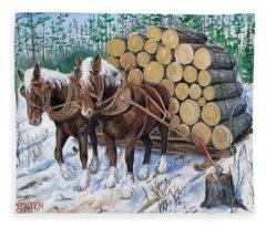 Horse Log Team Fleece Blanket