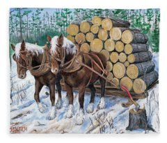 Horse Log Team Fleece Blanket