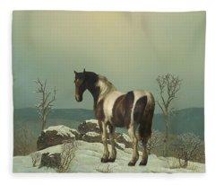 Horse On Snowy Summit Fleece Blanket