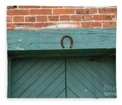 Horse Shoe On Old Door Frame Fleece Blanket