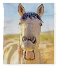 Horse Talk #2  Fleece Blanket