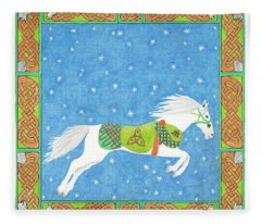 Horse With Celtic Knots Saratoga Faire Cd Cover Illustration Fleece Blanket