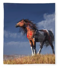 Horse With War Paint Fleece Blanket