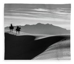 Horseback At White Sands Fleece Blanket