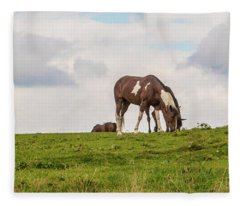 Horses And Clouds Fleece Blanket