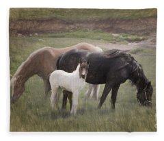 Horses And Colt  Fleece Blanket