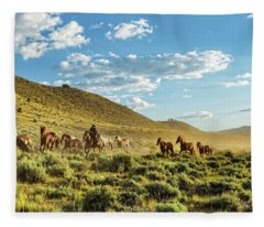 Horses And More Horses Fleece Blanket