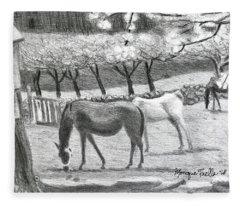Horses And Trees In Bloom Fleece Blanket