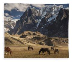 Horses Grazing Under Siula Grande Fleece Blanket