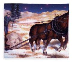 Horses Pulling Log Fleece Blanket