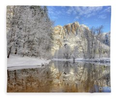 Horsetail Fall Reflections Winter Yosemite National Park Fleece Blanket