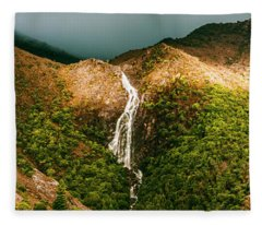 Horsetail Falls In Queenstown Tasmania Fleece Blanket