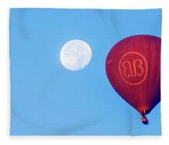 Hot Air Balloon And Moon Fleece Blanket