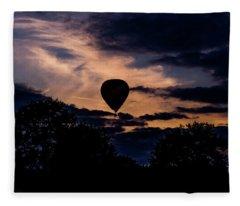 Hot Air Balloon Silhouette At Dusk Fleece Blanket
