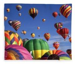 Beautiful Balloons On Blue Sky - Color Photo Fleece Blanket