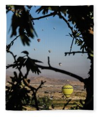 Hot Air Balloons In Cappadocia, Turkey Fleece Blanket