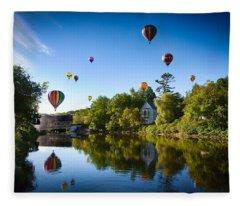 Hot Air Balloons In Quechee Fleece Blanket