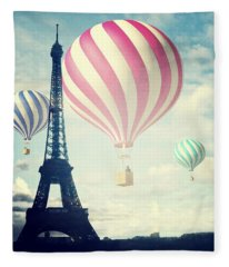 Hot Air Balloons In Paris Fleece Blanket