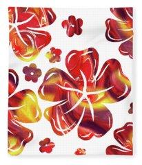 Hot Flowers Dancing Silhouettes Fleece Blanket