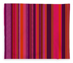 Hot Pink And Orange Stripes - Two Fleece Blanket