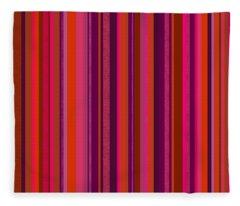 Hot Pink And Orange Stripes Fleece Blanket