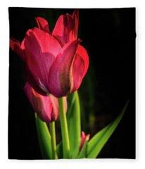 Hot Pink Tulip On Black Fleece Blanket